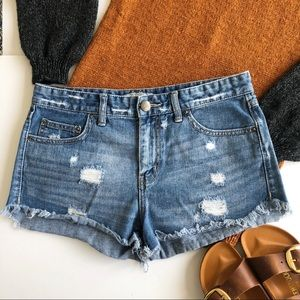 Free People high waist distressed denim shorts 28